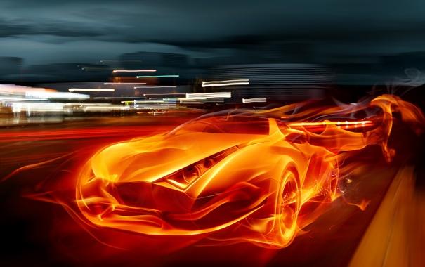 Фото обои машина, авто, огонь, Flames