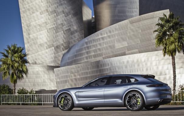 Фото обои Concept, пальмы, Porsche, Panamera, суперкар, сбоку, Porsche Panamera Sport Turismo Concept