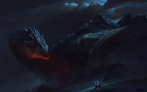 Фото обои море, ночь, дракон, корабль, парусник, арт, гигантский
