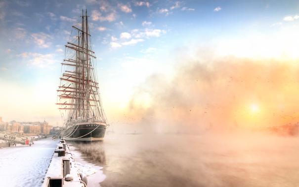 Фото обои зима, Санкт-Петербург, барк Седов