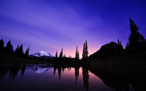 Фото обои небо, звезды, ночь, озеро, гора