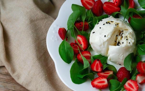 Фото обои ягоды, клубника, мороженое, десерт