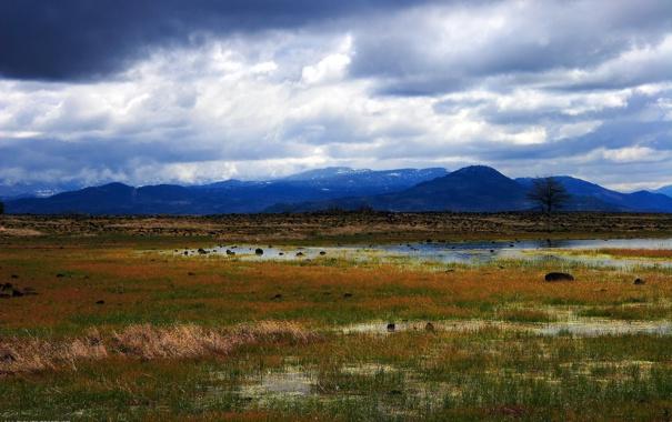 Фото обои небо, вода, горы, тучи, болото