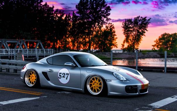Фото обои Porsche, Cayman, Car, Front, Sunset, Sport, Stance