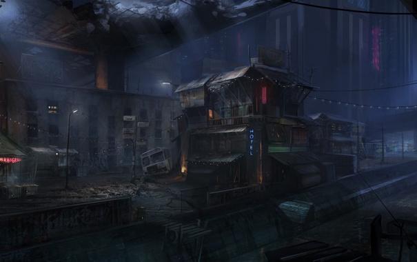 Фото обои ночь, мост, город, бар, арт, руины, отель