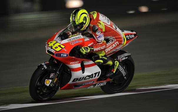Фото обои Скорость, Гонка, Мотоцикл, Трасса, Ducati, MotoGP, Valentino
