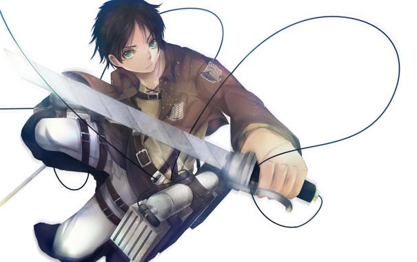 Фото обои взгляд, полет, оружие, солдат, парень, клинки, art