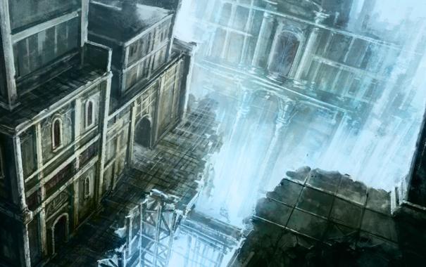 Фото обои город, обрыв, высота, арт
