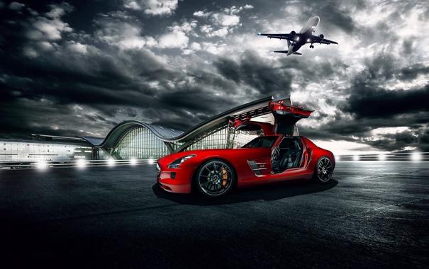 Фото обои красный, Mercedes-Benz, аэропорт, red, самолёт, AMG, SLS
