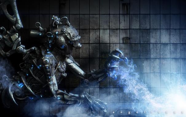 Фото обои огонь, дым, робот, пар, witch of thought