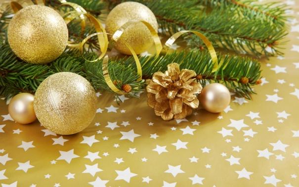 Фото обои ветка, звёздочки, ёлка, золотой, шишка, Хвоя