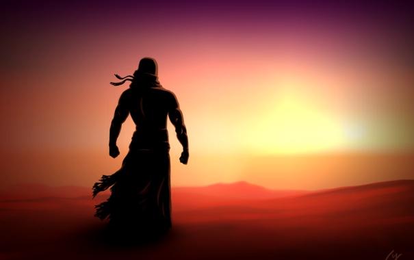 Фото обои закат, пустыня, рисунок, человек, силуэт
