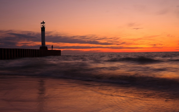 Фото обои море, небо, пейзаж, ночь