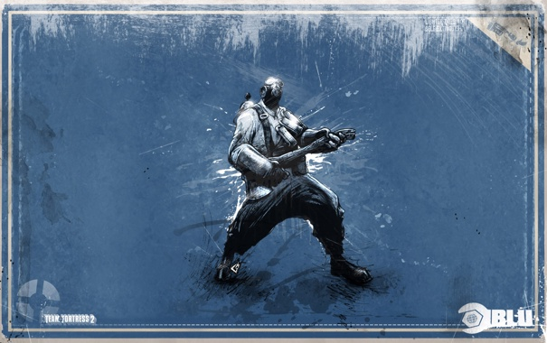 Фото обои топор, team fortress 2, зажигает, blue pyro