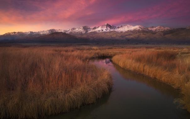 Фото обои закат, горы, природа, река, панорама