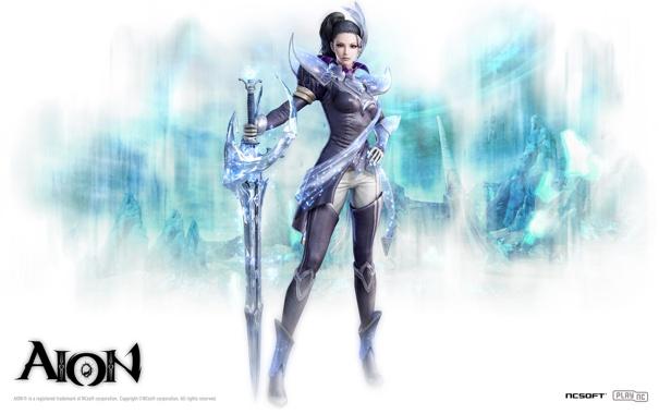 Фото обои лед, девушка, Aion, мечник