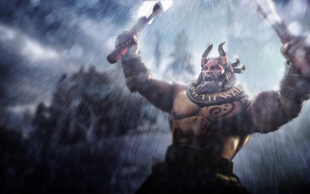 Фото обои дождь, герой, топор, steam, valve, дота 2, hero