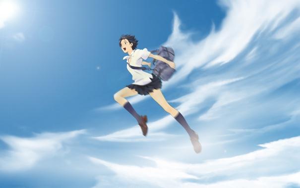 Фото обои прыжок, девочка покорившая время, The Girl Who Leapt Through Time, Toki o Kakeru Shōjo