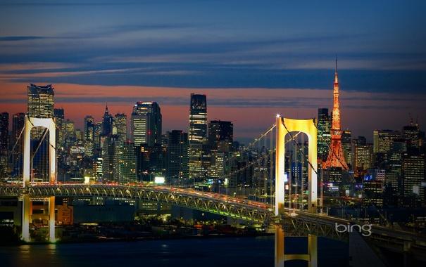 Фото обои мост, дома, вечер