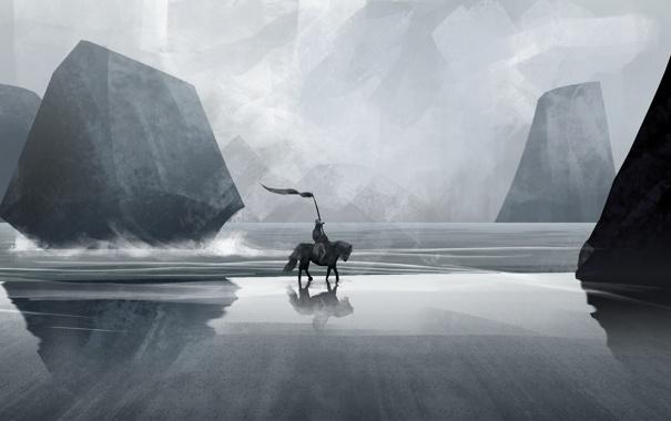 Фото обои море, скалы, лошадь, арт, прибой, всадник, знамя