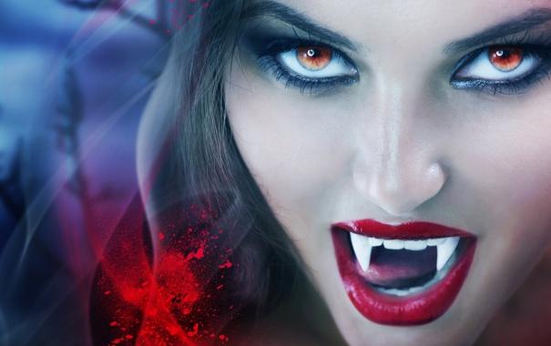 Фото обои взгляд, девушка, лицо, губы, клыки, вампирша