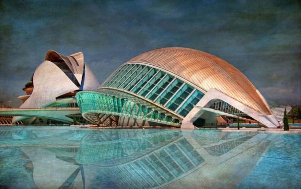 Фото обои небо, здание, бассейн, hdr, Испания, Валенсия