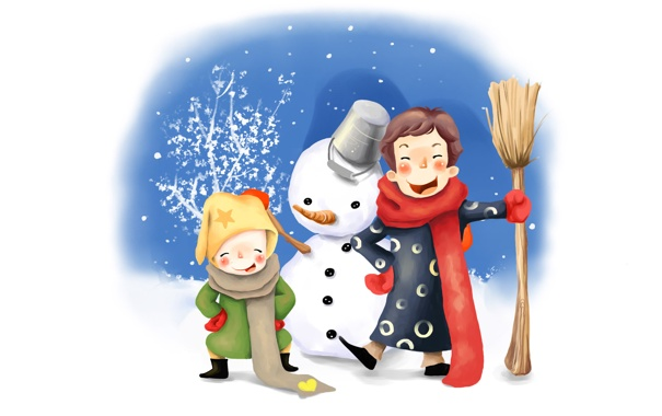 Фото обои зима, дети, рисунок, ведро, снеговик, метла, веселье
