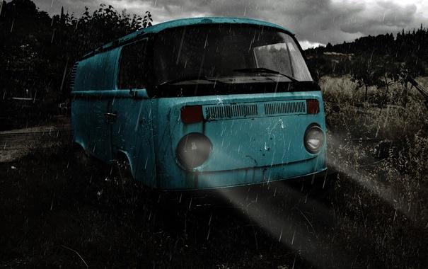 Фото обои свет, машины, ночь, дождь, настроение, volkswagen