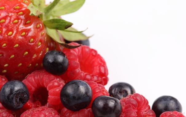 Фото обои ягоды, малина, черника, клубника