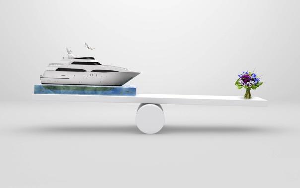 Фото обои вода, цветы, креатив, чайки, букет, яхта, перевес