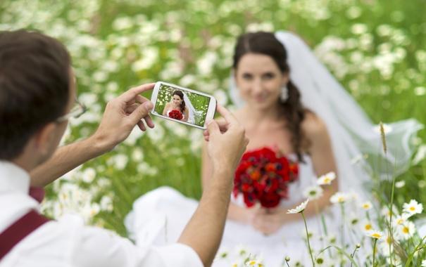 Фото обои трава, цветы, природа, женщина, букет, невеста, свадьба
