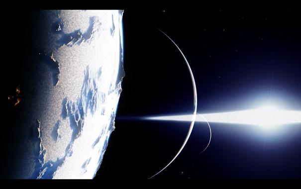 Фото обои холод, звезды, свет, мрак, планеты