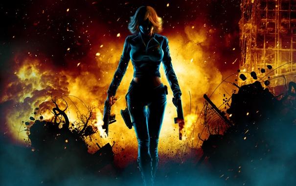 Фото обои взрыв, темнота, оружие, пламя, Девушка, искры, развалины