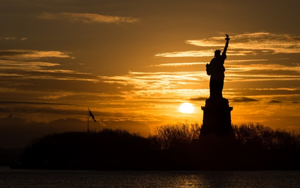 Фото обои United States, Sunrise, Statue of Liberty, Silhouette, Lady Liberty