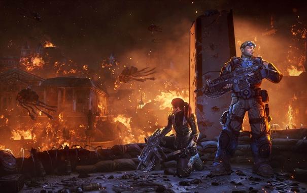 Фото обои девушка, город, оружие, огонь, монстры, солдаты, руины