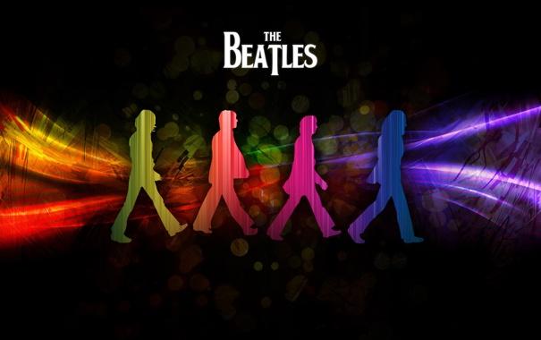 Фото обои радуга, группа, силуэты, битлс