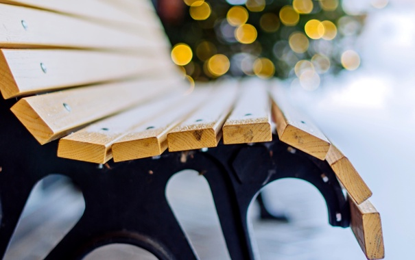 Фото обои лавочка, огни, боке, скамья, скамейка, зима, снег