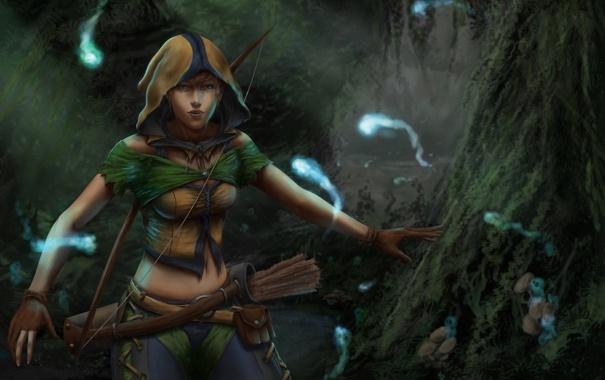 Фото обои лук, Девушка, охотница, лес, духи, колчан