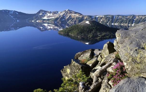 Фото обои горы, скала, озеро, синева, лазурь, landscape