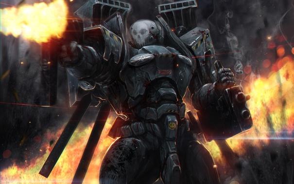 Фото обои огонь, бой, костюм, автомат, Солдат, броня, гильзы