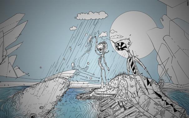 Фото обои вода, дождь, айсберг, существа, matei apostolescu