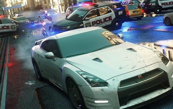 Фото обои город, гонка, погоня, need for speed most wanted 2, Nissan GTR