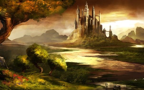 Фото обои лес, небо, вода, деревья, пейзаж, цветы, камни