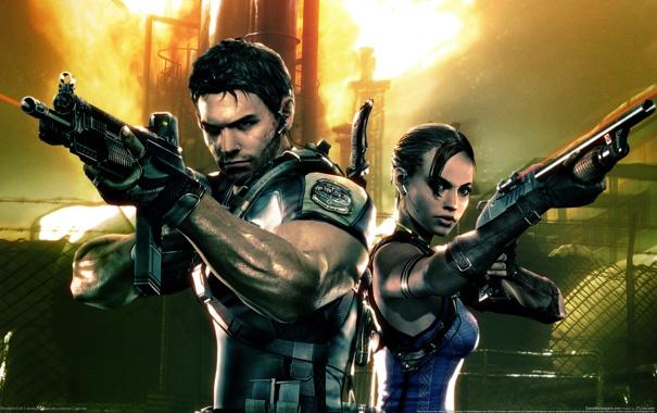 Фото обои оружие, игра, Шева, Крис, Residen evil 5