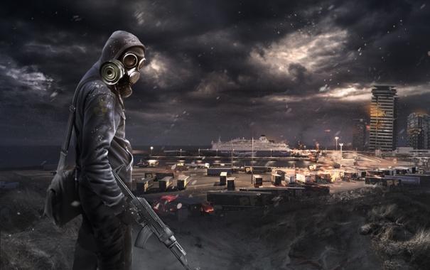 Фото обои здание, человек, сталкер, постапокалипсис, пустош, Nuclear Winter