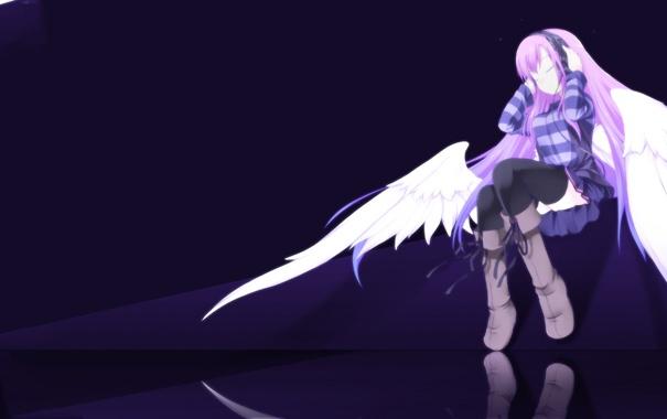 Фото обои девушка, отражение, наушники, Angel