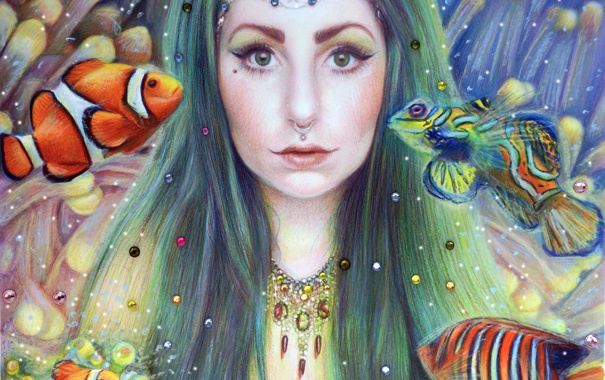 Фото обои взгляд, вода, девушка, рыбы, волосы, арт