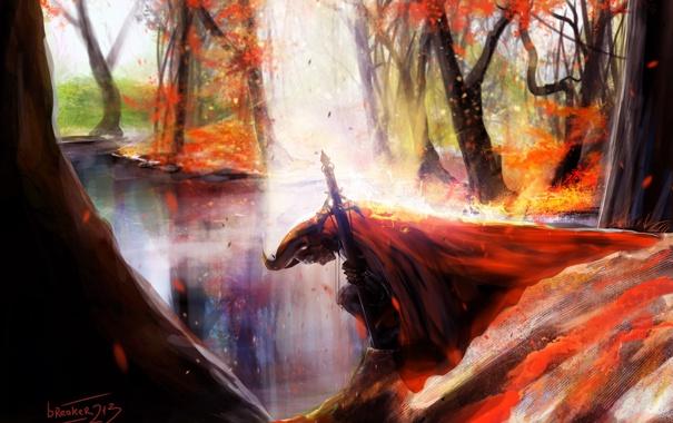 Фото обои осень, воин, fallen