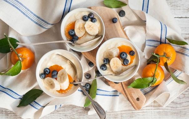 Фото обои салфетка, мандарины, napkin, Творог и ягоды, tangerines, Cheese and berries