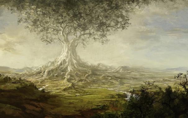 Фото обои корни, река, дерево, долина, арт, гигантское, Ásgeir Jón Ásgeirsson